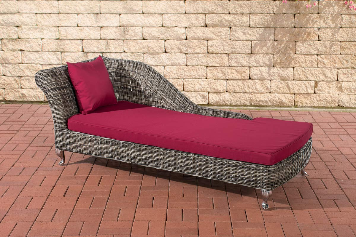poly rattan recamiere chaise longue savannah 5mm rund rattan relaxliege grau me ebay. Black Bedroom Furniture Sets. Home Design Ideas
