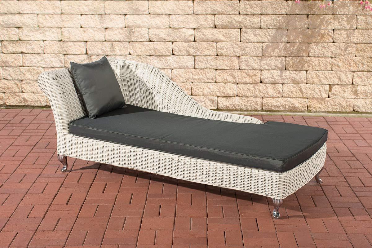 Chaise longue savannah 5mm white rattan sun lounger garden for Chaise longue rattan