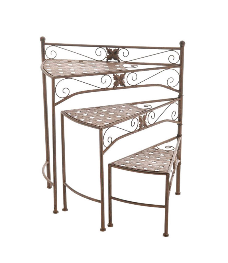 Flower rack swing plant stand 3 shelves antique stairway for Etagere campagne chic