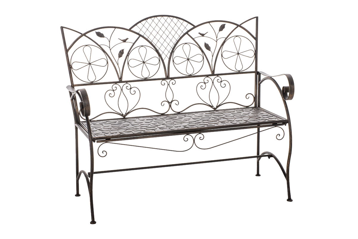 Garden Bench Rief Iron Shabby Chic Metal Seat Antique Bronze White Brown New Ebay