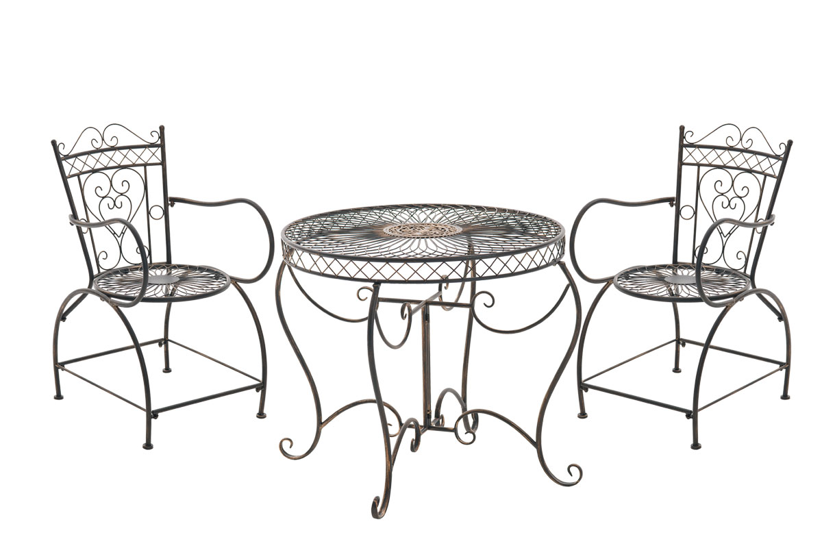 salon jardin sheela table ronde romantique m tal ancienne vintage terrasse neuf ebay. Black Bedroom Furniture Sets. Home Design Ideas