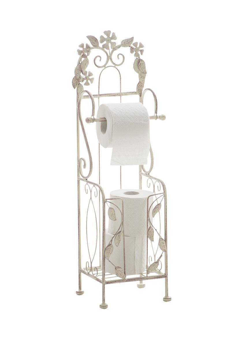 Standing vintage toilet paper holder carlotta iron shabby for Commode style shabby