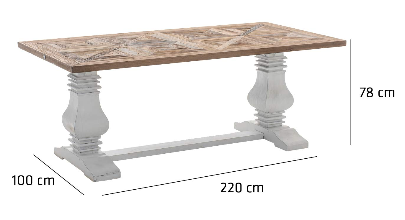 Dining Room Table TABOA Solid Recycled Wood Shabby Chic Antique Style Vintage