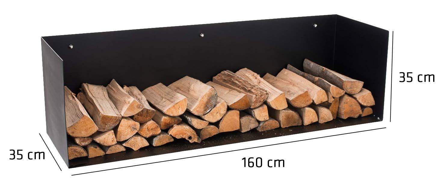 kaminholzregal mendel schwarz metall kaminholzhalter holzablage wand holzregal ebay. Black Bedroom Furniture Sets. Home Design Ideas
