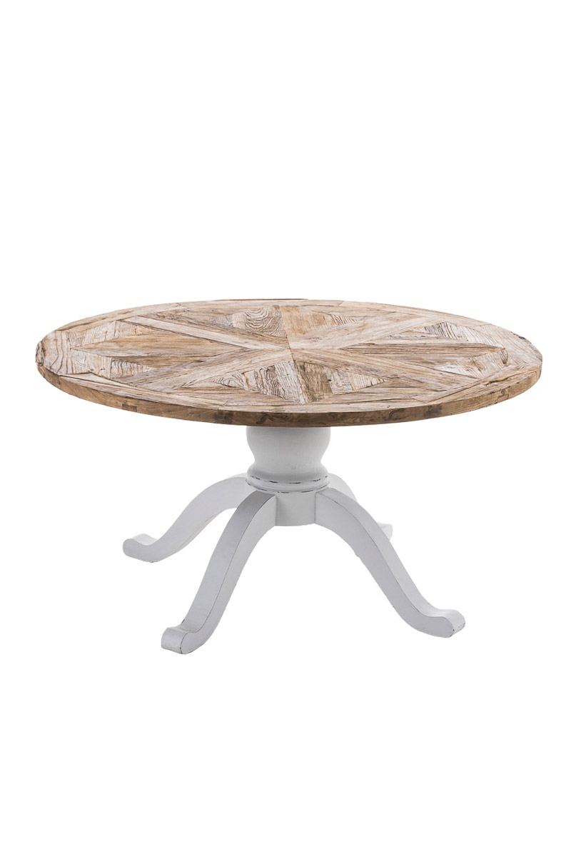 Round Dining Room Table FABIA Solid Recycled Wood Shabby Chic Antique Vintage