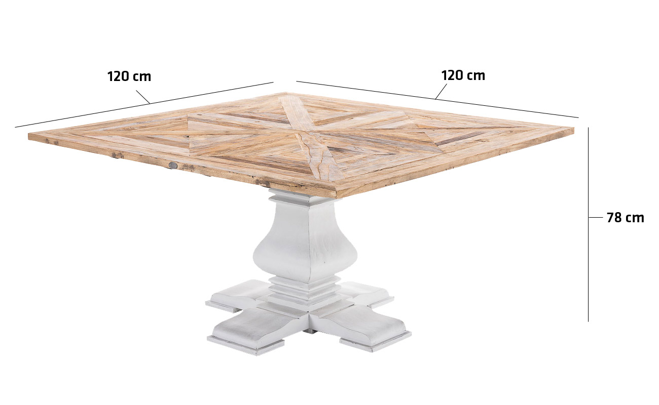 Square Dining Room Table QUINTUS Solid Recycled Wood Shabby Chic Antique Vint