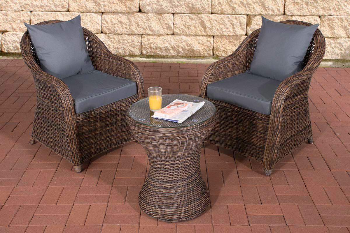 garten sitzgruppe sandino braun meliert gartenset terrasse polyrattan balkon neu ebay. Black Bedroom Furniture Sets. Home Design Ideas
