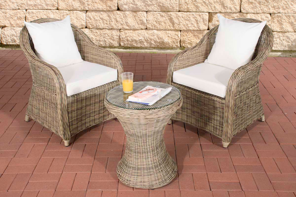 garten sitzgruppe sandino natura gartenset terrasse polyrattan balkon m bel neu ebay. Black Bedroom Furniture Sets. Home Design Ideas