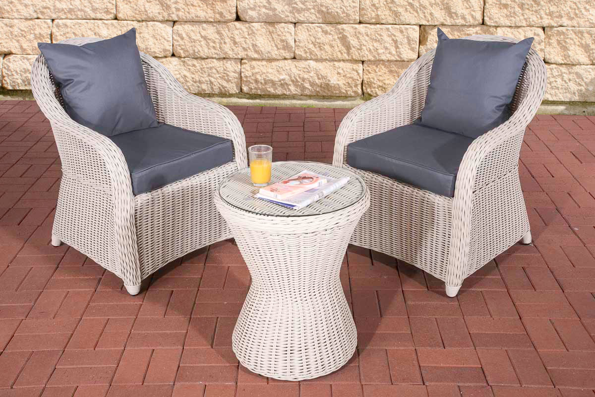 garten sitzgruppe sandino perlwei gartenset terrasse polyrattan balkon m bel ebay. Black Bedroom Furniture Sets. Home Design Ideas