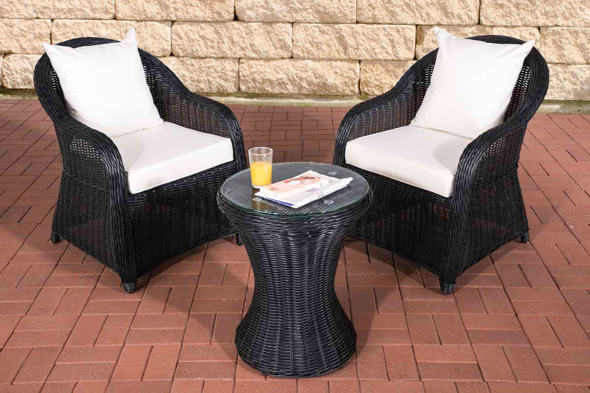 garten sitzgruppe sandino schwarz gartenset terrasse polyrattan balkon m bel neu ebay. Black Bedroom Furniture Sets. Home Design Ideas