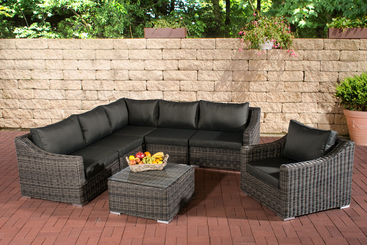 polyrattan gartenm bel del mar grau meliert lounge set sitzgruppe rattan neu ebay. Black Bedroom Furniture Sets. Home Design Ideas