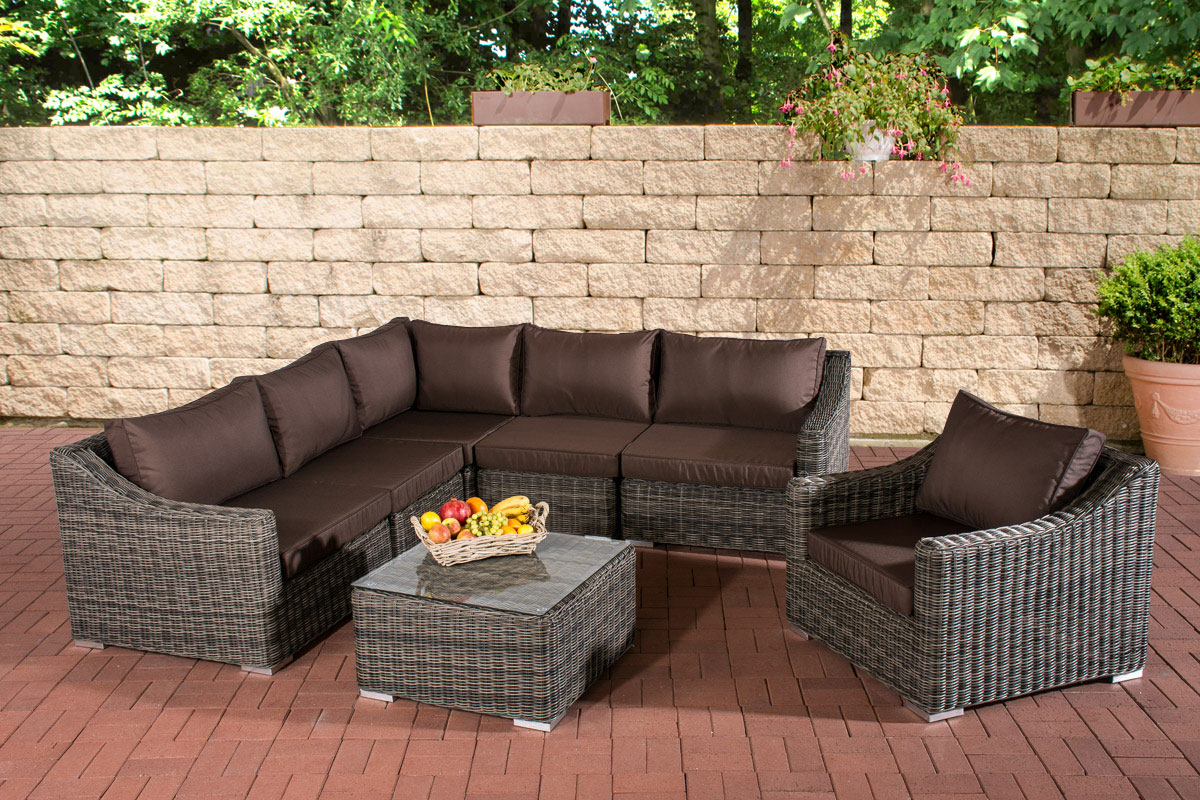 polyrattan gartenm bel del mar grau meliert lounge set. Black Bedroom Furniture Sets. Home Design Ideas