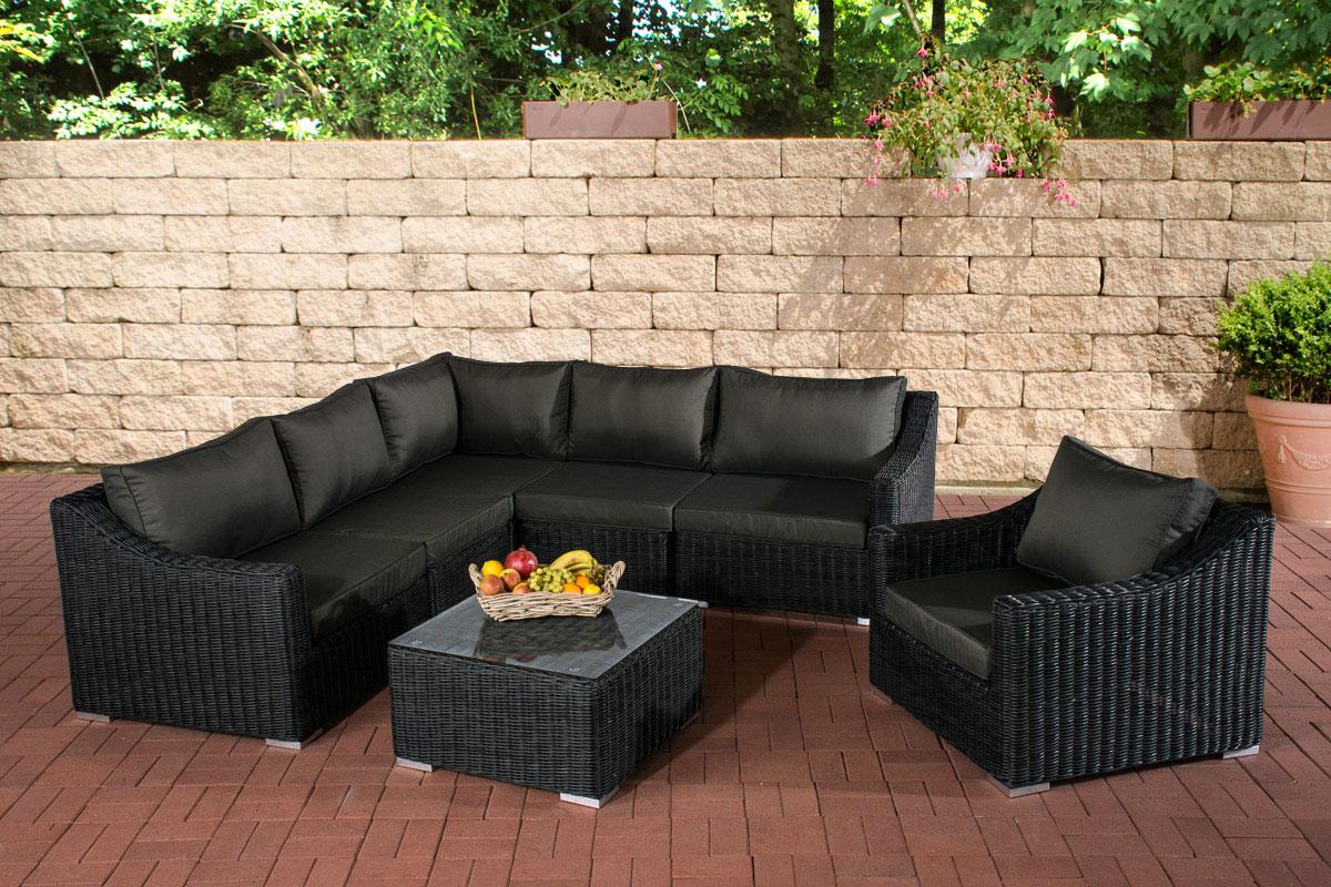 poly rattan gartenm bel lounge set del mar schwarz garten. Black Bedroom Furniture Sets. Home Design Ideas