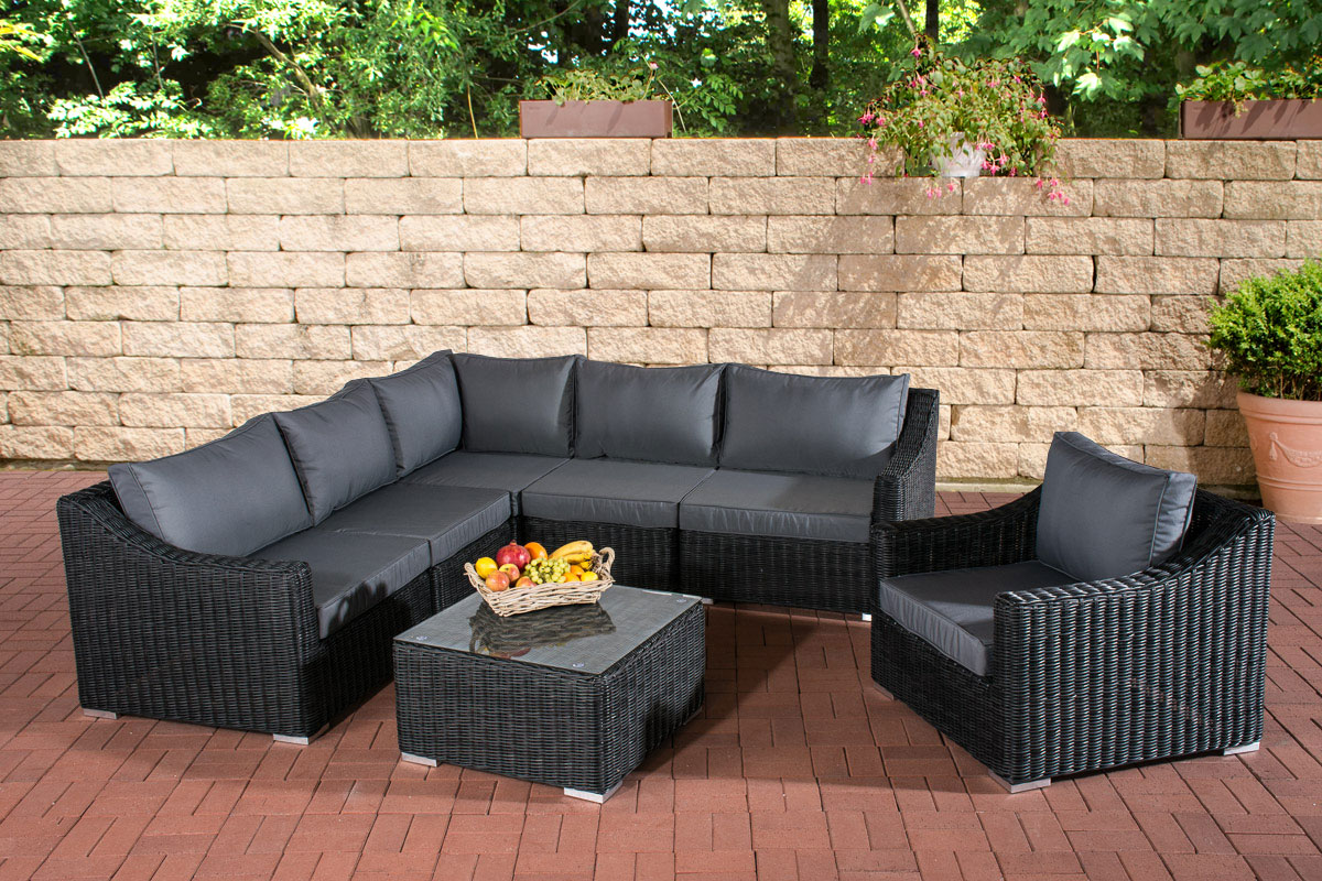 Poly rattan gartenm bel lounge set del mar schwarz garten for Lounge sessel polyrattan