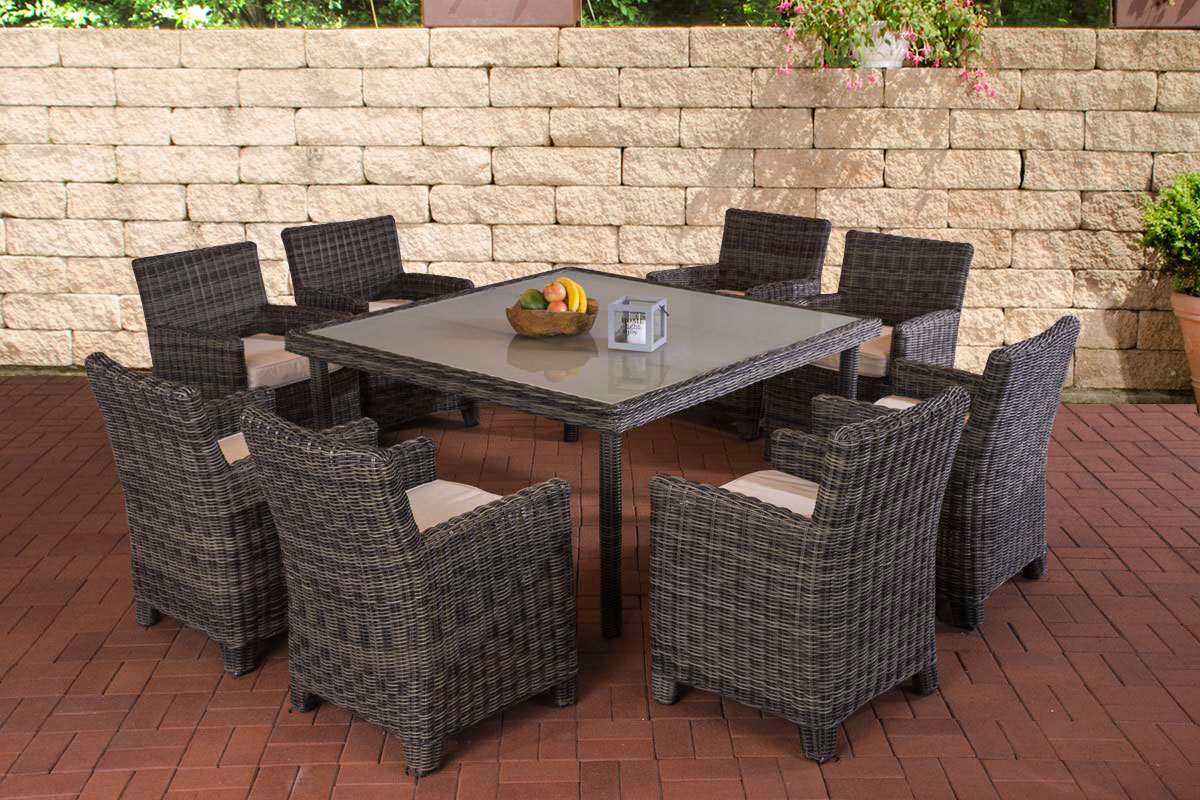 xl poly rattan sitzgruppe st augustin grau meliert essgruppe gartenm bel neu ebay. Black Bedroom Furniture Sets. Home Design Ideas