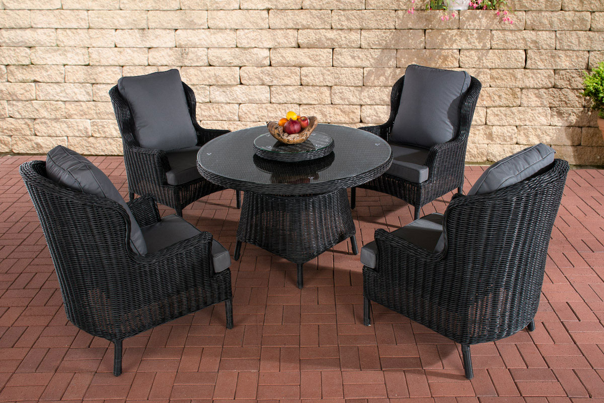 poly rattan sitzgruppe jardin schwarz essgruppe gartenm bel tisch kaffee rund ebay. Black Bedroom Furniture Sets. Home Design Ideas