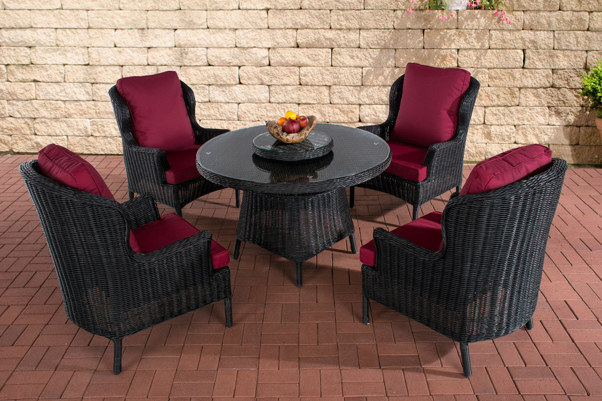 poly rattan sitzgruppe jardin schwarz essgruppe. Black Bedroom Furniture Sets. Home Design Ideas