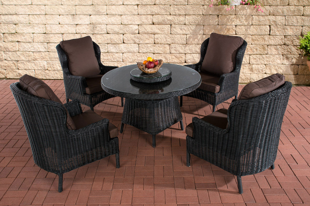 poly rattan sitzgruppe jardin schwarz essgruppe gartenm bel tisch kaffee rund. Black Bedroom Furniture Sets. Home Design Ideas