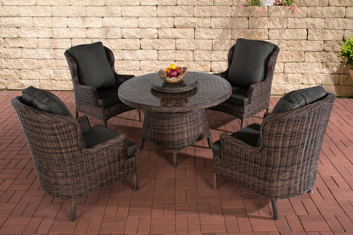 poly rattan sitzgruppe jardin braun meliert essgruppe gartenm bel kaffee rund ebay. Black Bedroom Furniture Sets. Home Design Ideas