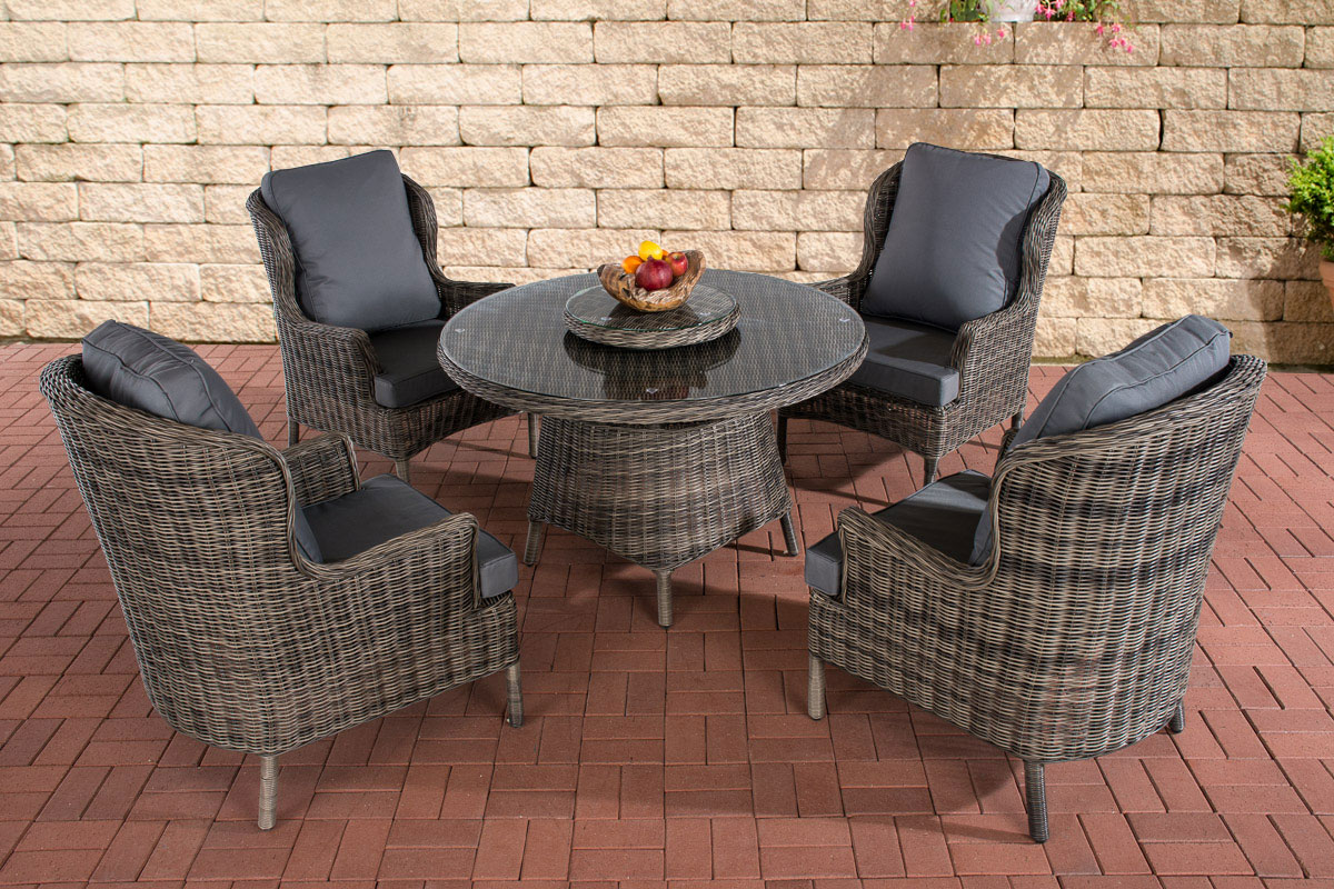 poly rattan sitzgruppe jardin grau meliert essgruppe gartenm bel kaffee rund neu ebay. Black Bedroom Furniture Sets. Home Design Ideas