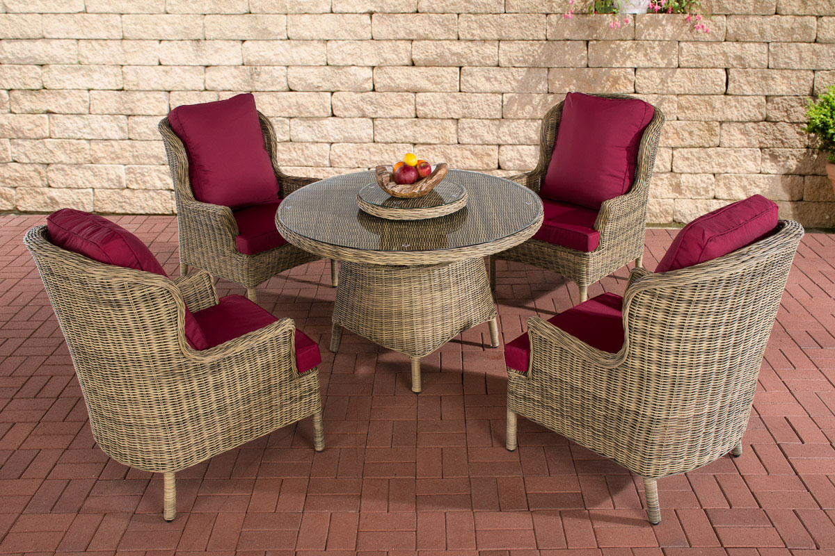 poly rattan sitzgruppe jardin natura essgruppe gartenm bel tisch kaffee rund neu ebay. Black Bedroom Furniture Sets. Home Design Ideas