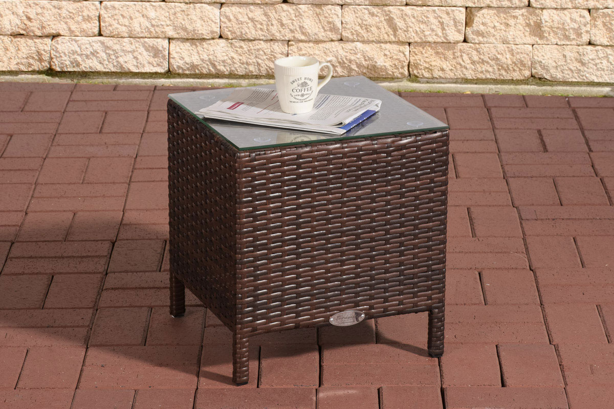 poly rattan beistelltisch vilato couchtisch glasplatte gartentisch garten tisch ebay. Black Bedroom Furniture Sets. Home Design Ideas