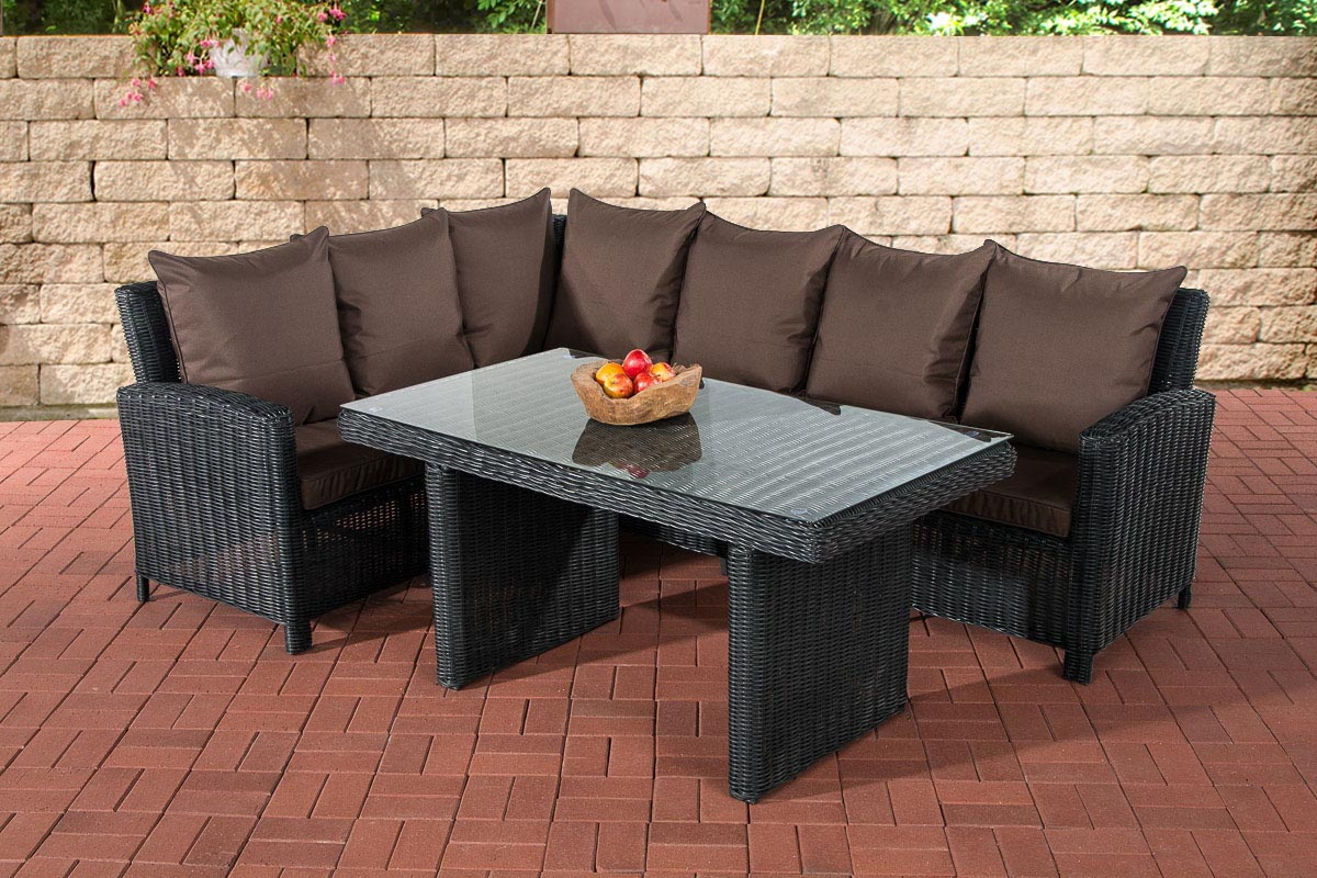 luxus gartengarnitur bermeo 5mm eckgarnitur polyrattan gartenm bel eck essgruppe ebay. Black Bedroom Furniture Sets. Home Design Ideas