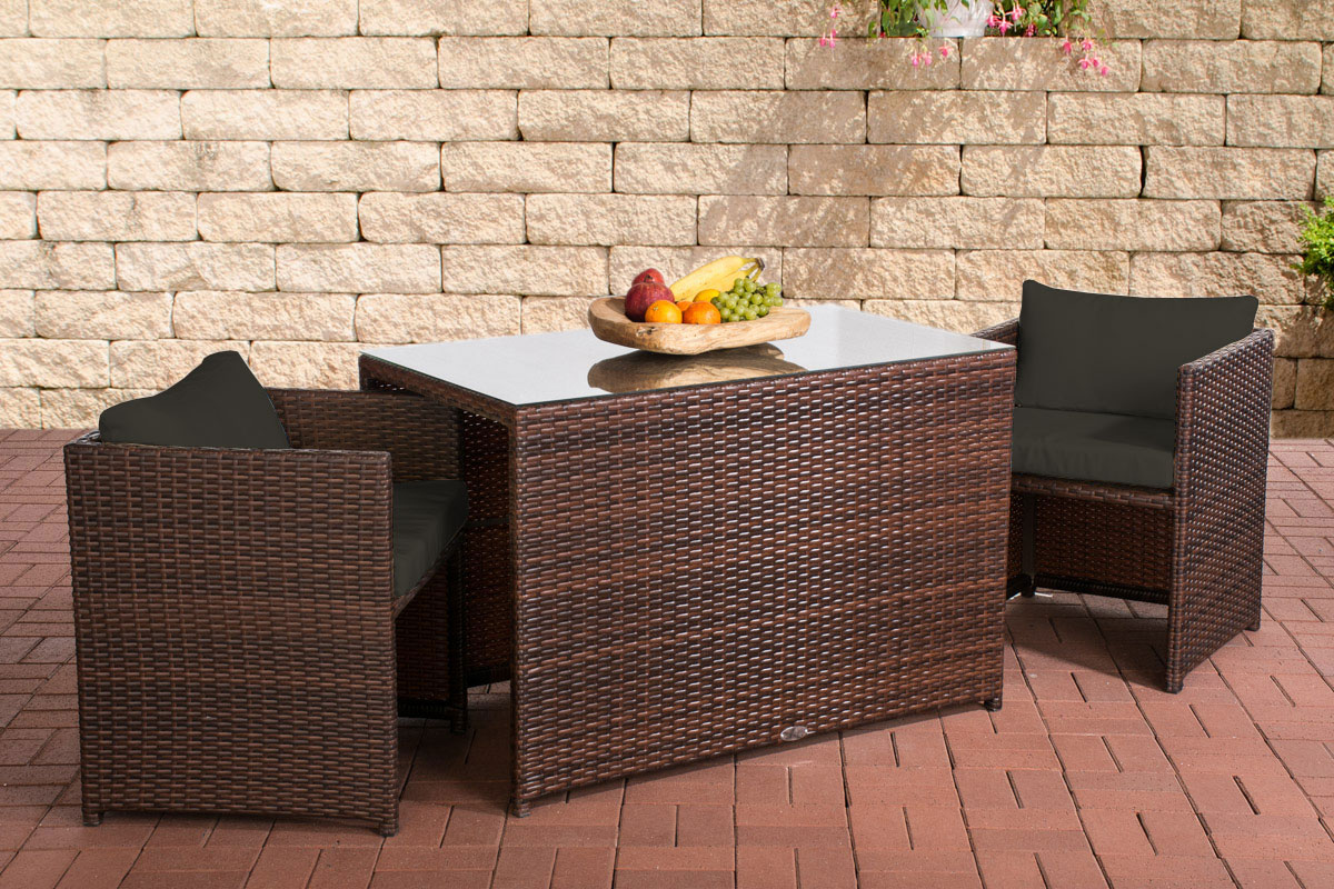 poly rattan balkon sitzgruppe botella rattan gartenm bel set 2 personen farbwahl ebay. Black Bedroom Furniture Sets. Home Design Ideas