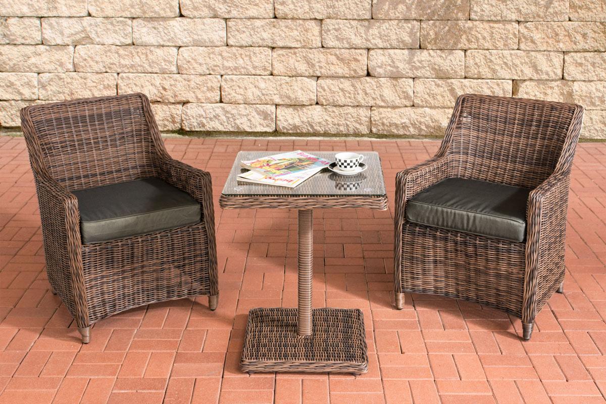 luxus polyrattan sitzgruppe armetta balkon gartenset garnitur 2 sessel tisch neu ebay. Black Bedroom Furniture Sets. Home Design Ideas