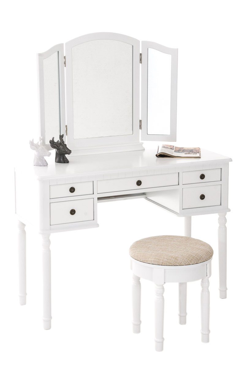 schminktisch madeleine mit 3 spiegel hocker kosmetiktisch frisiertisch landhaus. Black Bedroom Furniture Sets. Home Design Ideas