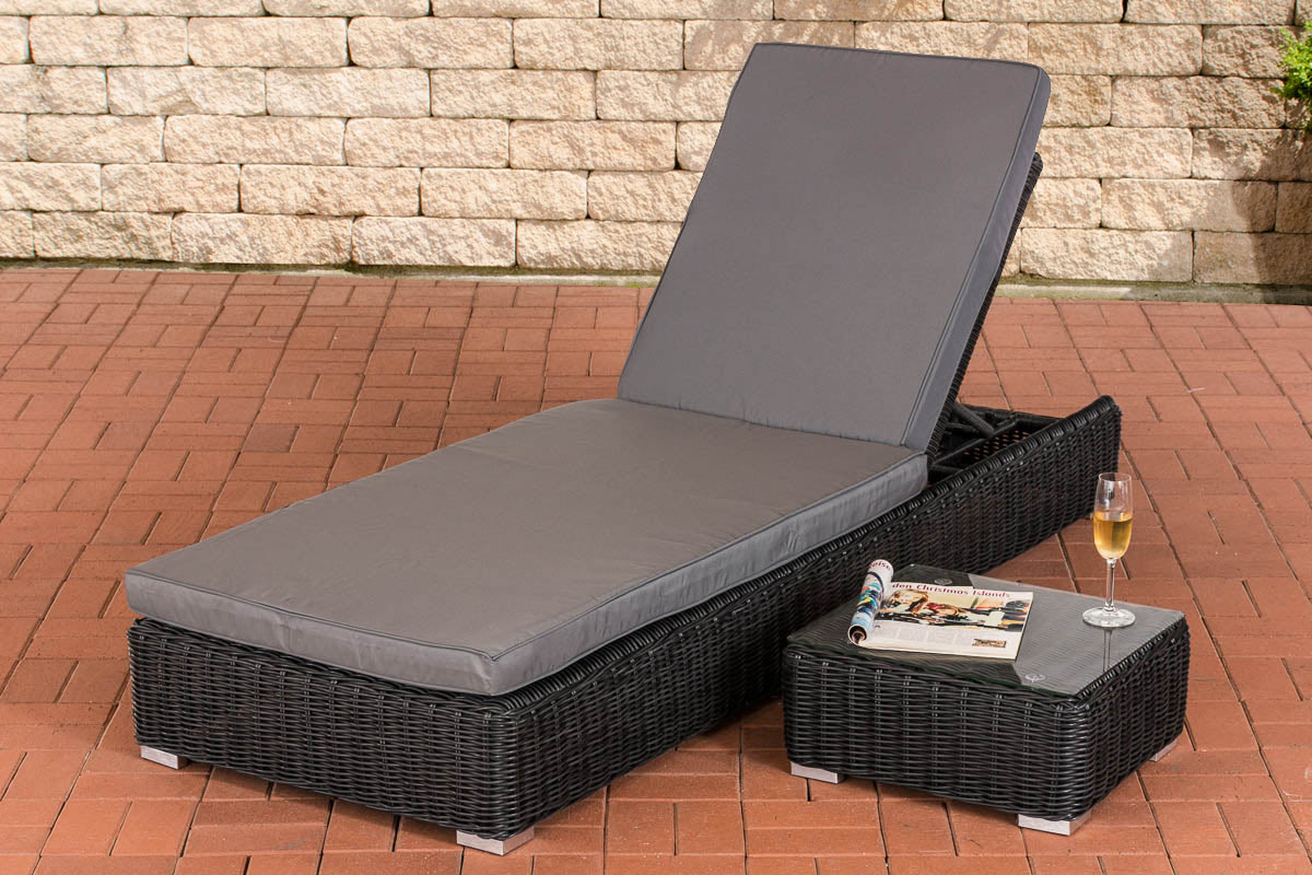 polyrattan sonnenliege atessa beistelltisch gartenliege liegestuhl relaxliege ebay. Black Bedroom Furniture Sets. Home Design Ideas