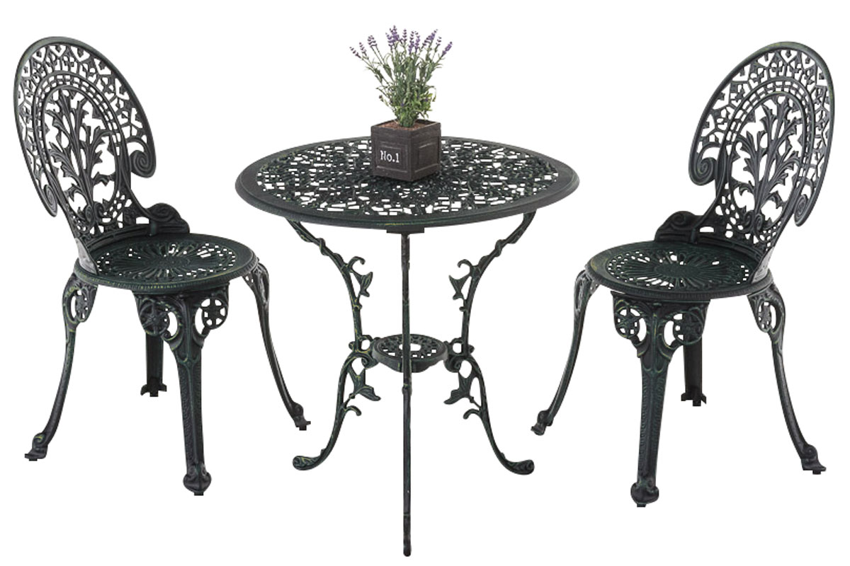 sitzgruppe vishnu bistroset gusseisen tischgruppe metall eisenm bel garten antik ebay. Black Bedroom Furniture Sets. Home Design Ideas