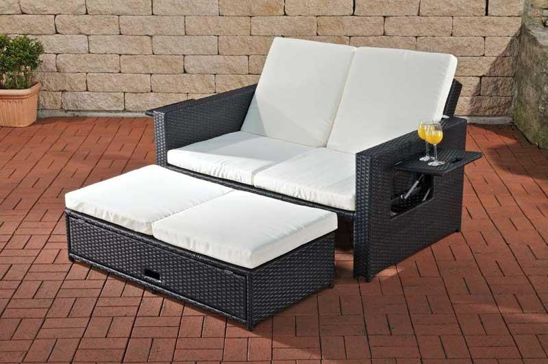 2er sofa cp041 2 sitzer poly rattan schwarz. Black Bedroom Furniture Sets. Home Design Ideas