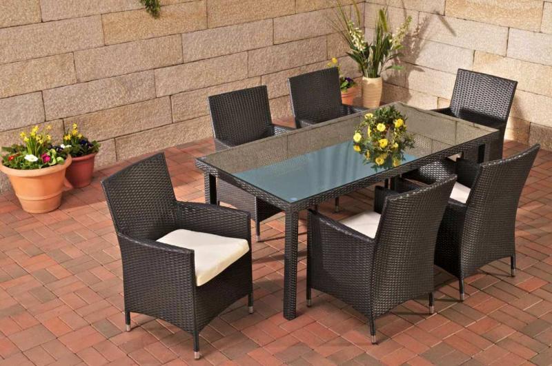 Poly Rattan Sitzgruppe Florenz 6 Garten Stühle Garten Tisch 180 X