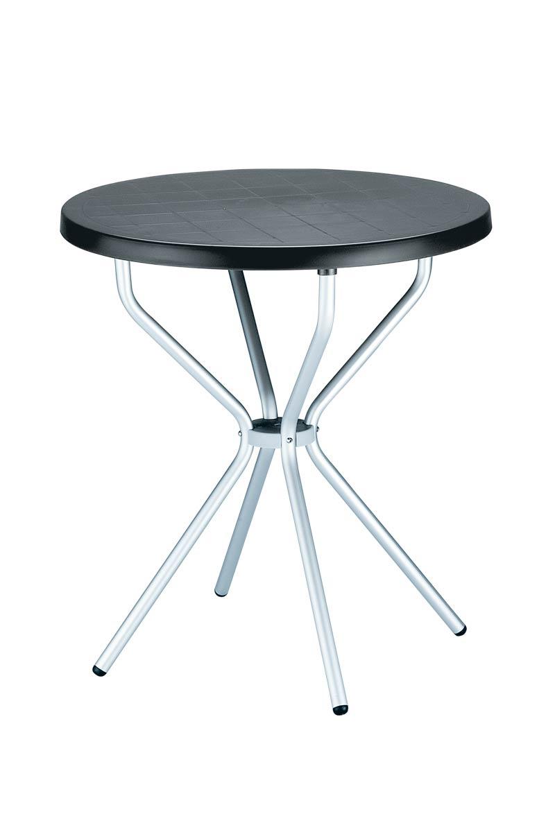 Balkontisch Gartentisch Tisch ELFO Kunststoff Aluminium Rund 70