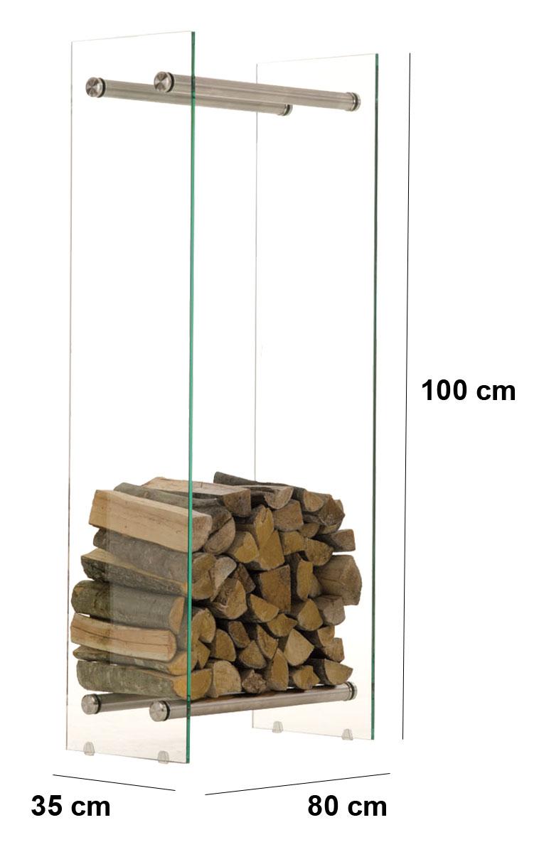 Kaminholzständer DACIO 35x80x100 Kaminholzregal Kaminholzhalter Glas Edelstahl