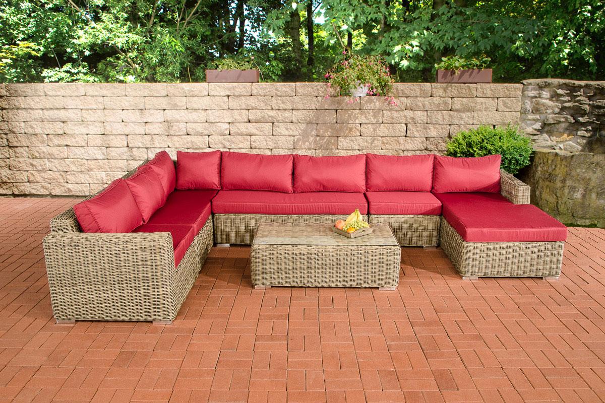 Sofa garnitur cp054 lounge set gartengarnitur poly rattan kissen rubinrot natur - Tafel rots lounge bobois ...