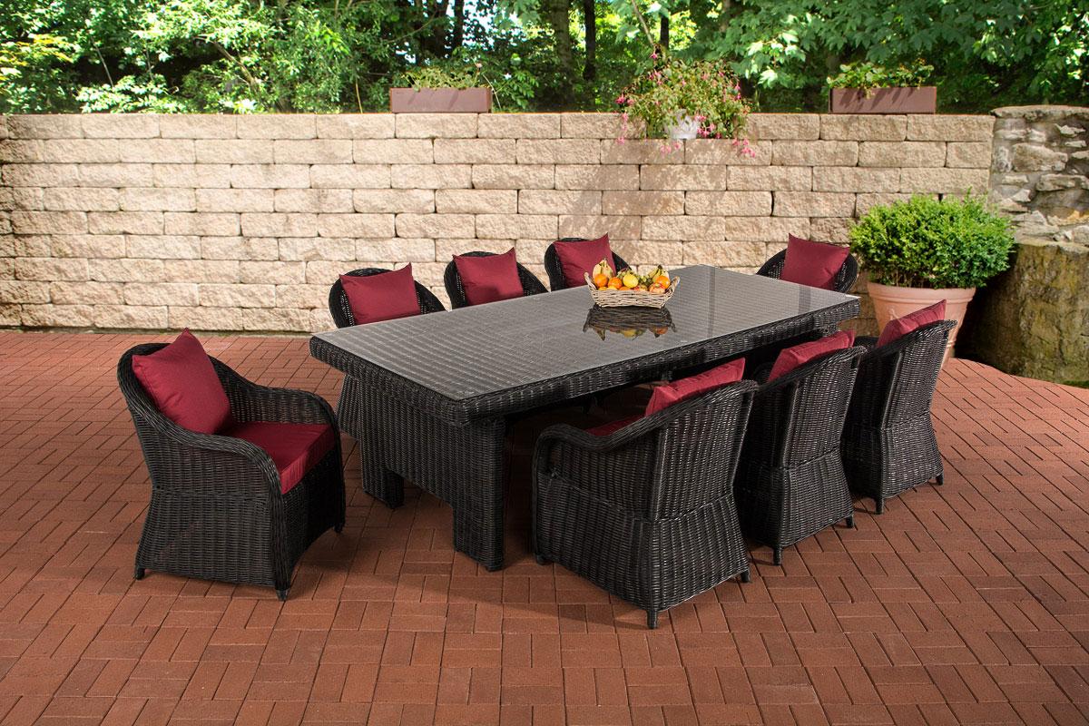 Garten Garnitur Cp065 Xl Sitzgruppe Lounge Garnitur Poly Rattan Kissen Rubinrot Schwarz