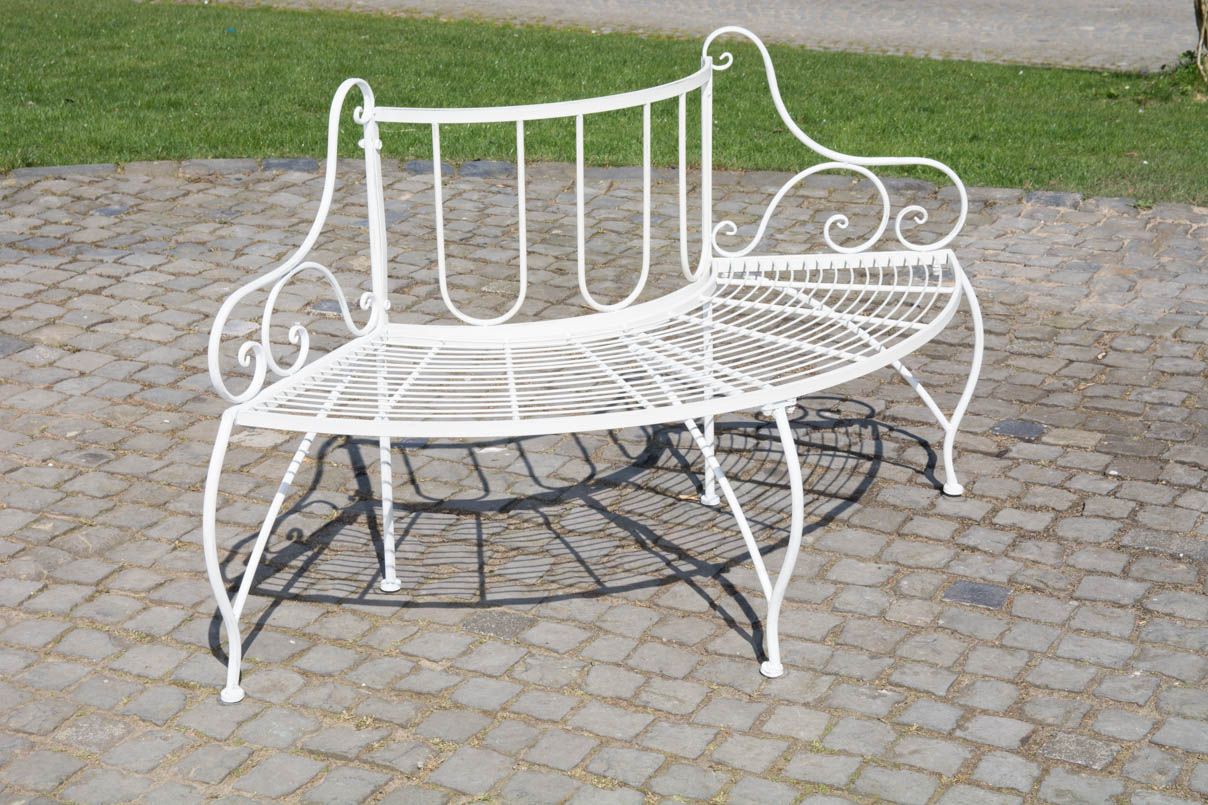 banc jardin jette arrondi rond m tal accoudoirs si ge 3 places terrasse vintage ebay. Black Bedroom Furniture Sets. Home Design Ideas