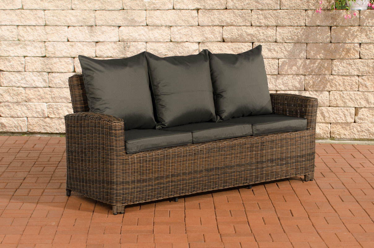 3er sofa 3 sitzer edmonton poly rattan grau meliert mit. Black Bedroom Furniture Sets. Home Design Ideas