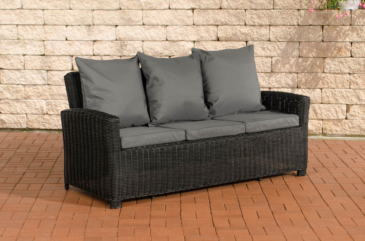 3er sofa 3 sitzer edmonton poly rattan grau meliert mit kissen in anthrazit. Black Bedroom Furniture Sets. Home Design Ideas