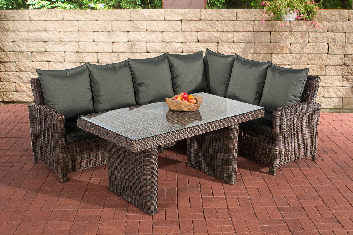 Rattan lounge anthrazit  Garnitur CP056, Lounge-Set Gartengarnitur, Poly-Rattan ~ Kissen ...