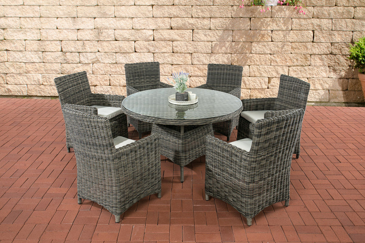 rund rattan sitzgruppe larino 6 st hle gartentisch rund 130 cm 5mm rattan ebay. Black Bedroom Furniture Sets. Home Design Ideas