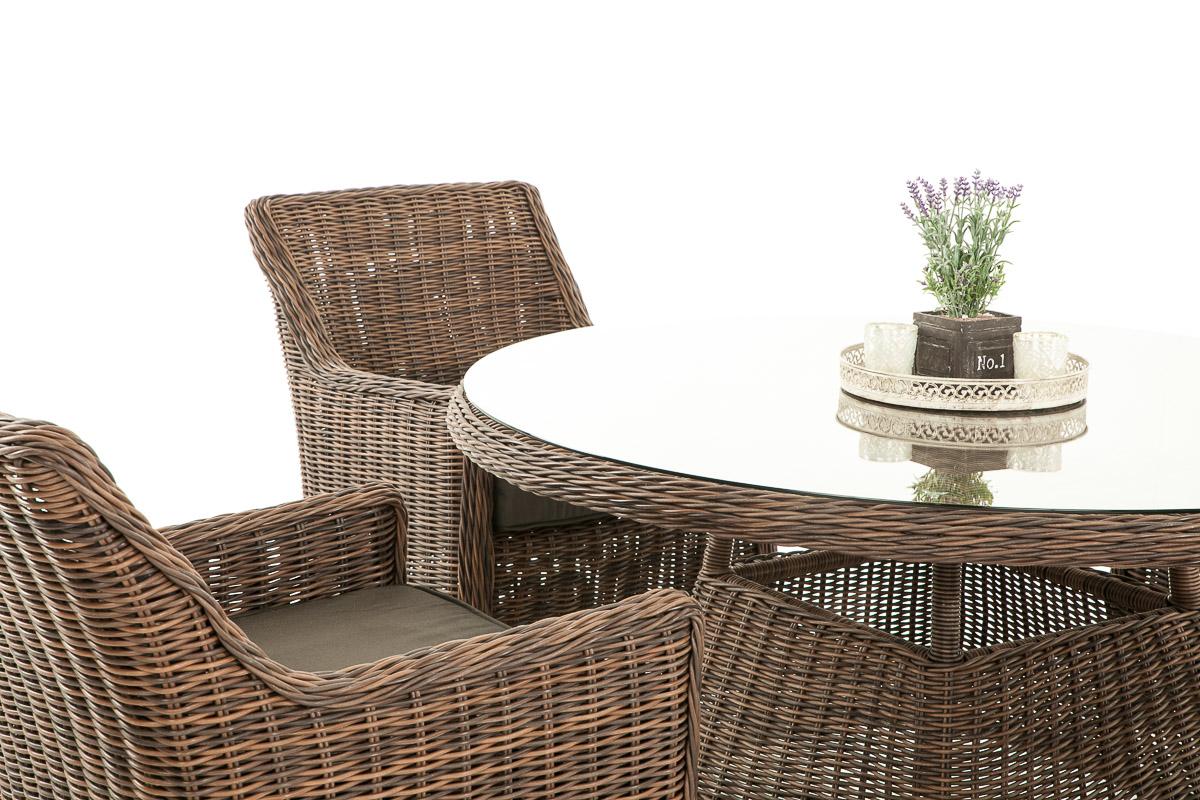 polyrattan garten sitzgruppe bovino braun meliert 4 sessel esstisch sitzgarnitur ebay. Black Bedroom Furniture Sets. Home Design Ideas