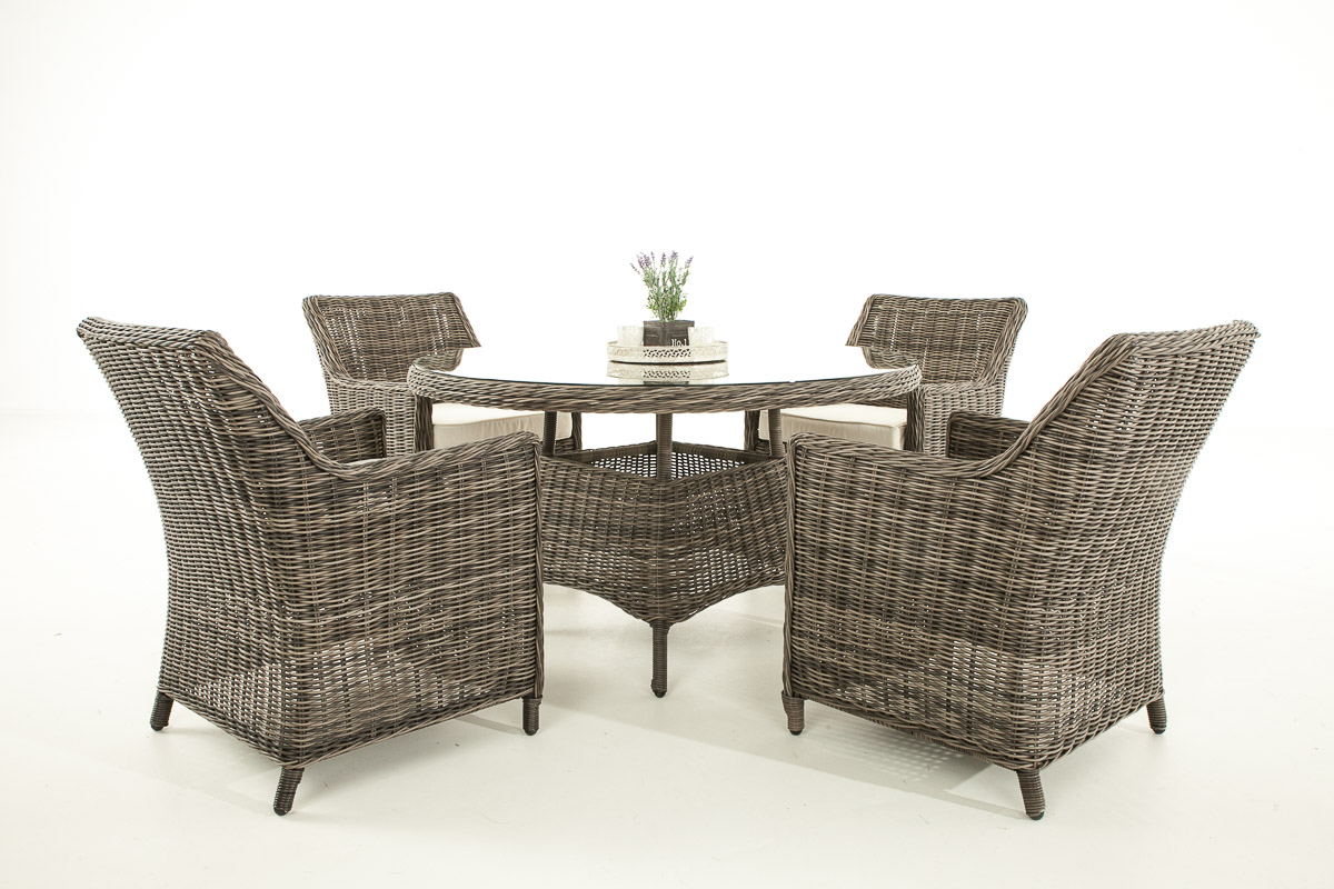 poly rattan garten sitzgruppe bovino 5mm rund rattan gartentisch rund 130 cm ebay. Black Bedroom Furniture Sets. Home Design Ideas