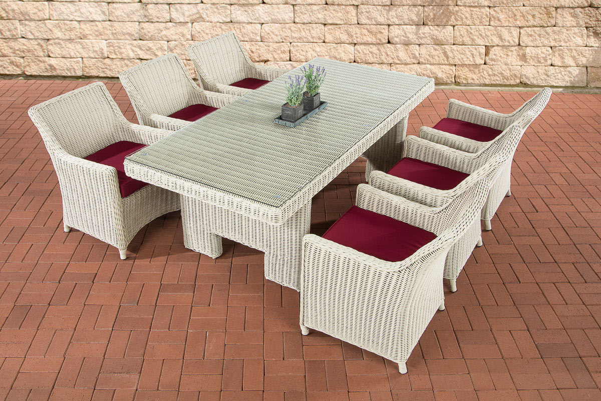 polyrattan essgruppe sitzgruppe sandnes perlwei garten terrasse 6 personen ebay. Black Bedroom Furniture Sets. Home Design Ideas
