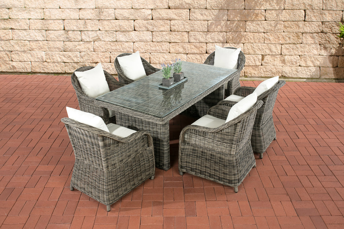 polyrattan sitzgruppe lavello grau meliert 6 sessel esstisch 180 x 90 cm ebay. Black Bedroom Furniture Sets. Home Design Ideas