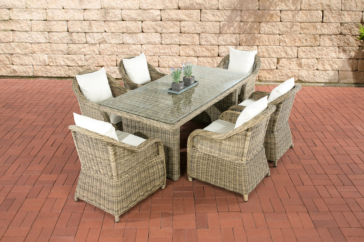 6personen essgruppe lavello stuhl tischset gartengarnitur gartenm bel polyrattan ebay. Black Bedroom Furniture Sets. Home Design Ideas