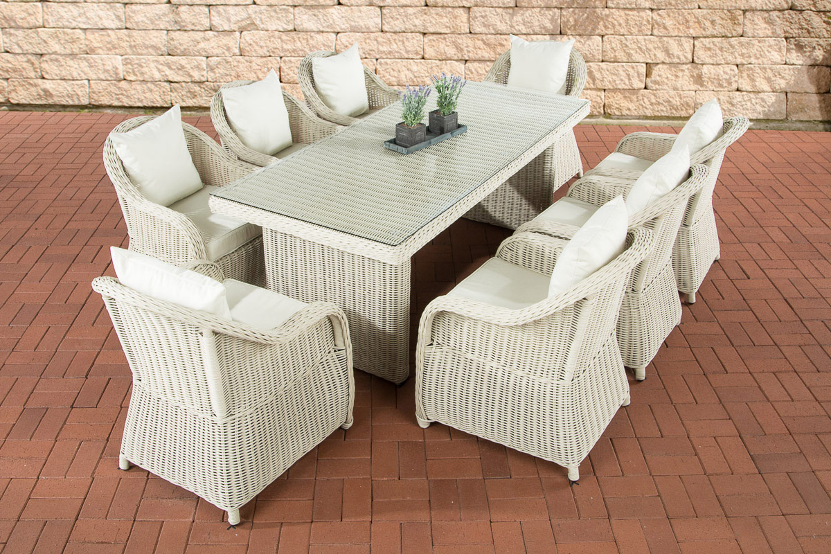 polyrattan gartensitzgruppe lavello xl perlwei essgruppe garnitur 8 personen ebay. Black Bedroom Furniture Sets. Home Design Ideas