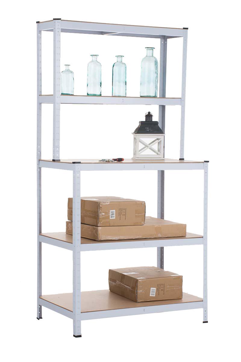 Steckregal weiß  mit Werkbank CP546, Steckregal Werkstattregal, Metall ~ weiß